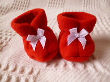 BJB dolls clothes, Red fleece booties / boots fit baby born doll
