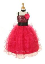 New Sequined Ruffled Layered Organza Flower Girls Dress Party Easter Christmas K