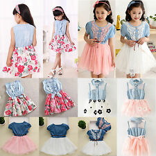 Kid Baby Girl Denim Jeans Tulle Tutu Skirt Princess Dress Summer Party Sun Dress