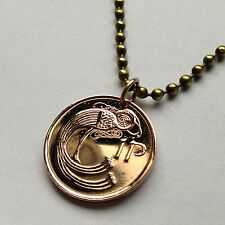 Ireland 1 penny coin pendant Stylized BIRD Lucky Irish necklace harp n000070