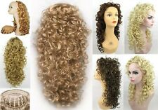 "23"" LONG 3/4 CAP FALL BIG CURLS CURLY HAIR EXTENSIONS W/COMB HAIRPIECE SIMONE"