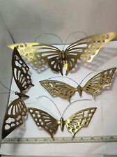 4 Vintage Korea Brass Graduated Butterfly Wall Hangings. Nice Brass Wall Decor!