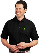 Green Alien Head Embroidered Black Polo Sport Shirt S-5XL