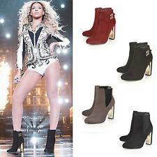 Ladies Womens Mid High Chunky Block Heel Chelsea Ankle Boots Shoes Zip Up Size