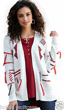 NEW LADIES WOMANS AZTEC WINTER IVORY CARDIGAN WRAP PLUS SIZE 10-28 UK