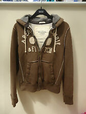ABERCROMBIE & FITCH MENS ZIP UP HOODIE Sz SMALL in BROWN - DISTRESSED LOOK