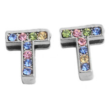 50x Colorful Rhinestone Plated Rhodium Letter Beads Fit Belt Bracelets Charms J