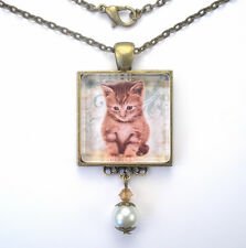"""SWEET CAT KITTEN """"VINTAGE CHARM"""" HANDCRAFTED SILVER OR BRONZE PENDANT NECKLACE"""