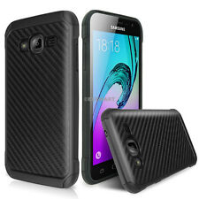 For Samsung Galaxy J1 2016/Amp 2/Express 3 Slim Hybrid Carbon Fiber Armor Case