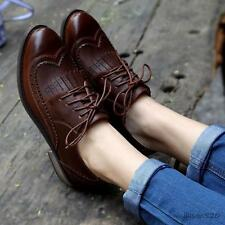 womens girl wing tip lace up pointy dress oxford Brogue low heel college shoes