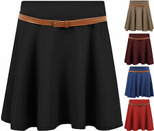 New Womens Skater Mini Flared Ladies Short Plain Belt Stretch Party Skirt