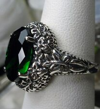 5ct Oval *Emerald* Sterling Silver Floral Butterfly Filigree Ring Size Any/MTO