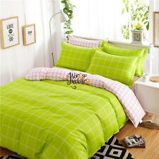 New Checked Quilt/Doona Cover Set Cotton Single/Double/Queen/King Size Bed Linen
