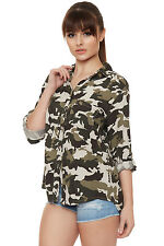 Womens Camouflage Shirt Print Short Sleeve Collar Button Pocket Ladies
