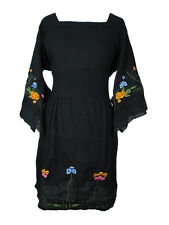 Cotton Gauze Dress with Floral Embroidery and Kimono Sleeves