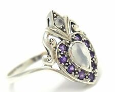 AMETHYST MOONSTONE Ring 925 Silver ANTIQUE STYLE STERLING SILVER