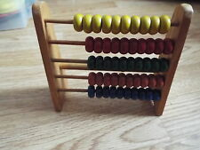 Vintage wooden 5 row Abacus toy coloured wood beads