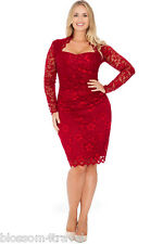 Goddiva Wine Luxury Lace Scalloped Long Sleeve Cocktail Party Evening Dress