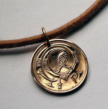 Ireland 1/2 penny coin pendant IRISH necklace Styilized bird harp n000062
