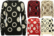 New Womens Circle Spot Pattern Long Sleeve Ladies Knitted Sweater Jumper