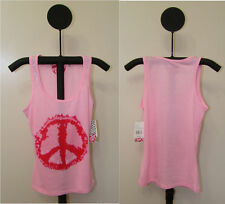 Women's Sweet Tart Pink Peace Sign Tank Top NWT