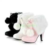 Womens High Heel PAM PAM Fur Winter Lace Up Snow Warm Ankle Boots Shoes Plus Sz
