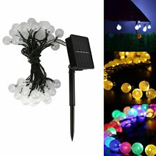 21Ft 30LED Solar Powered Outdoor String Ball Light Outside Patio Party Xmas Lamp