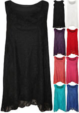 New Ladies Plus Lace Dipped Hem Lined Womens Sleeveless Vest Stretch Top