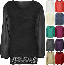 Womens Plus Size Lace Lined Sheer Long Sleeve Ladies Chiffon Tunic Party Top