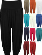 New Womens Plus Size Cropped Harem Trousers Ladies 3/4 Plain Baggy Pants
