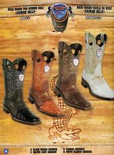 Wild West Men's Rodeo Toe Caiman Belly 1/2 Vamp Cowboy Western Boots Diff.Colors