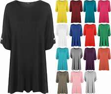 New Womens Plus Size Plain Turn Up Button Short Sleeve Ladies Stretch Top