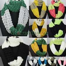 Trendy Casual Winter Warm 2-Tone Knit Shawl Infinity Loop Cowl Circle Scarf