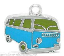 Wholesale Lots Silver Tone Enamel Bus Charm Pendants 20x18mm