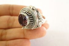 Purple Amethyst Compartment Poison 925 Sterling Silver Ring Sz 6, 7, 8, 8.75