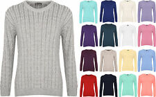 New Plus Size Womens Cable Knit Long Sleeve Top Ladies Jumper Sweater