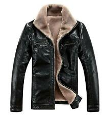 Mens Winter Warm Leather Jackets Fur Lining Parka Trench Coats Casual Outwears