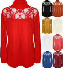 New Ladies Lace Polo Turtle Neck Long Sleeve Womens Stretch Plus Size Top