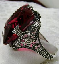 12ct Square*Red Ruby* Solid Sterling Silver Victorian Filigree Ring Size Any/MTO