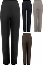 New Plus Size Womens Ribbed Straight Leg Ladies Stretch Trousers Pants