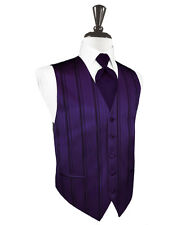 New Mens Amethyst Purple Stripe Tuxedo Vest Tie Set Formal Wedding Prom All Size