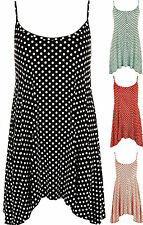 Womens Plus Strappy Cami Long Spot Polka Dot Print Ladies Swing Vest Top
