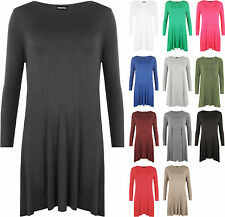 New Plus Size Womens Plain Long Sleeve Stretch Ladies Swing Dress Top