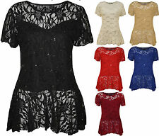 New Plus Size Womens Lace Sequin Ladies Short Sleeve Peplum Frill Top
