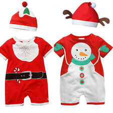 New Baby Boys Girls Santa Snowman Red Clothing Set Romper+ Hat 2 Pcs/Outfit