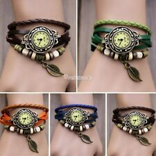 7 Color Fashion Quartz Weave Wrap Around Leather Leaf Bracelet Woman Wrist Watch