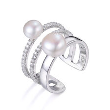 JewelryPalace Freshwater Cultured 7-8mm White Pearl  Ring 925 Stering Silver