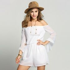 Sexy Women Off Shoulder Bandeau Playsuit Summer Beach Shorts Jumpsuit Mini W3LE