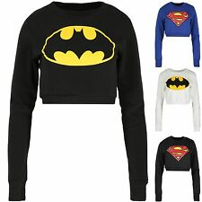 Womens Superman Batman Cropped Tops Ladies Fleece Sweatshirts Superhero Pullover