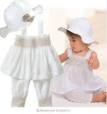New Baby Girls White Clothing Set Top Pants Hat 3 Pcs/Set Summer Kids Outfit